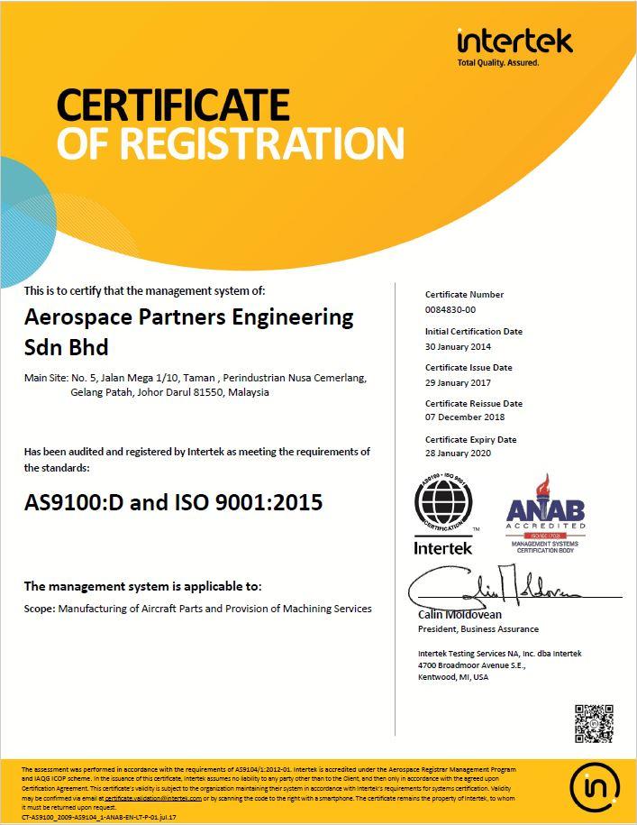 AS9100 Intertek Certificate
